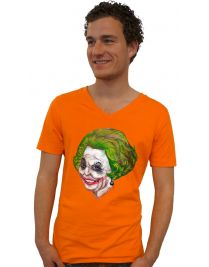 Koninginnedag shirt 106: Beatrix - The Joker voor mannen in het oranje met v hals